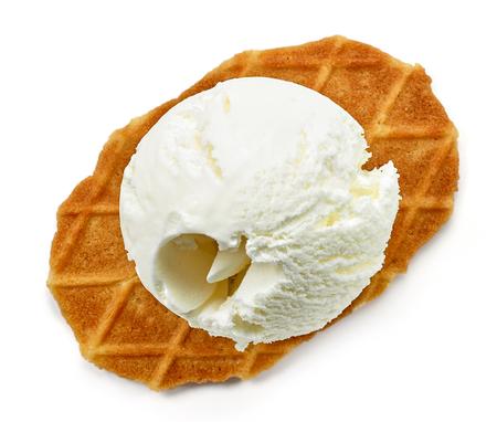 scoop of vanilla ice cream isolated on white background, top view