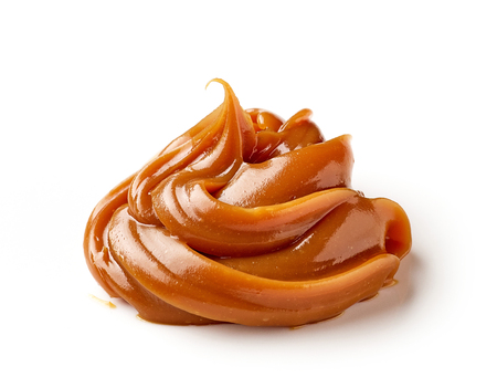 melted caramel isolated on a white background