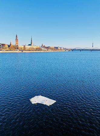 Panoramic view of Riga city and river Daugava, Latvia
