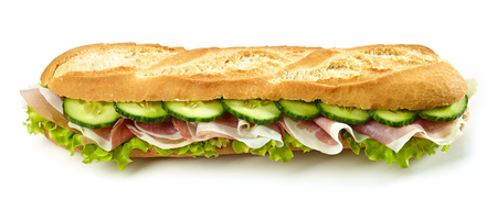 baguette sandwich with prosciutto ham and cucumber isolated on white background Stock Photo