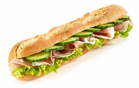 baguette sandwich with ham and cucumber isolated on white background Stock Photo