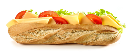 baguette sandwich with cheese and tomato isolated on white background