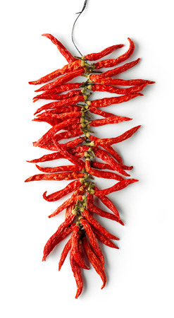 dried red hot chili peppers isolated on white background, top view Stock fotó