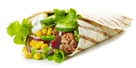 Tortilla wrap with fried minced meat and vegetables isolated on white background