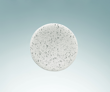 liquide cosmétique de forme ronde avec macro de bulles, vue de dessus
