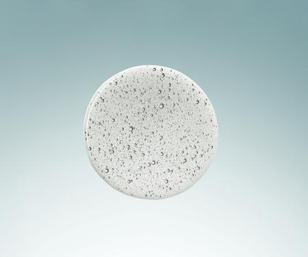 liquido cosmetico di forma rotonda con macro di bolle, vista dall'alto