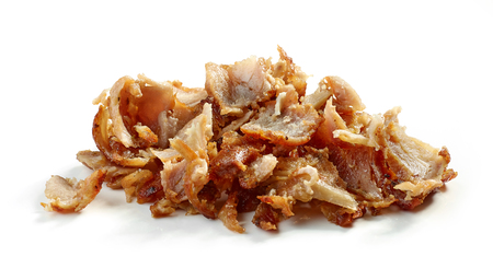 heap of fried chicken kebab gyros meat isolated on white background