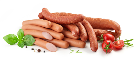 Heap of various sausages isolated on white