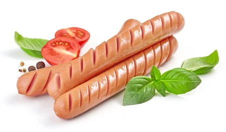 Grilled sausages with herbs and tomato isolated on white Banque d'images