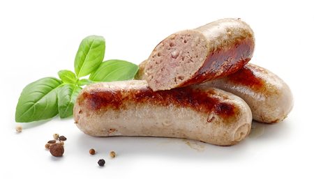 grilled sausages isolated on white background