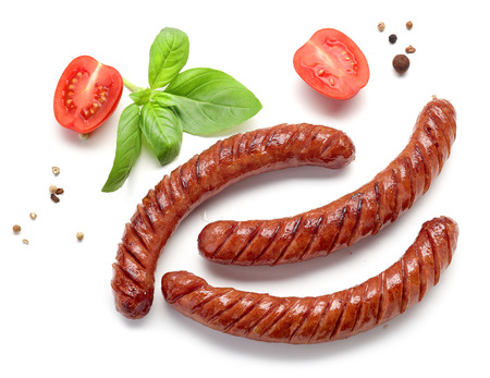 grilled sausages isolated on white background, top view Stock fotó