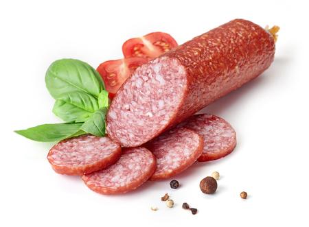 salami sausage isolated on white background
