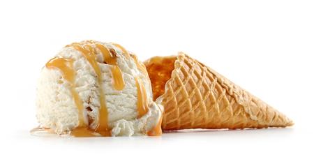 ice cream and waffle cone isolated on white background