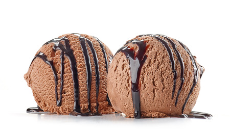 chocolate ice cream with chocolate sauce isolated on white background
