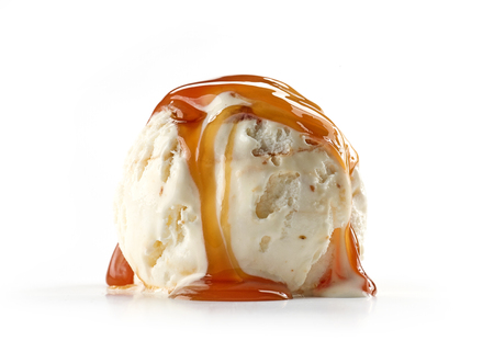 ice cream with caramel sauce isolated on white background Reklamní fotografie