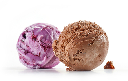 chocolate and blueberry ice cream isolated on white background