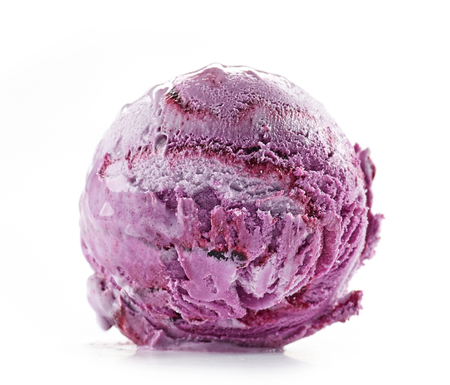 blueberry ice cream isolated on white background