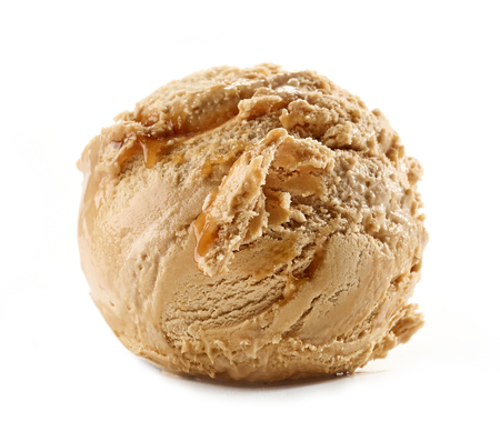 caramel ice cream isolated on white background Reklamní fotografie
