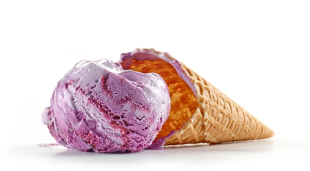blueberry ice cream and waffle cone isolated on white background