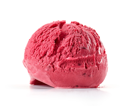 red cherry ice cream isolated on white background