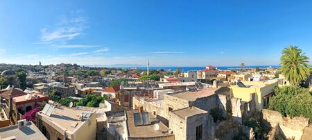 Panoramic view of old town of Rhodes, Rodos, Greece Reklamní fotografie