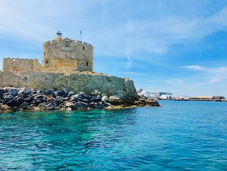 Fort of St. Nicholas in Mandaki Harbor, Rhodes, Greece