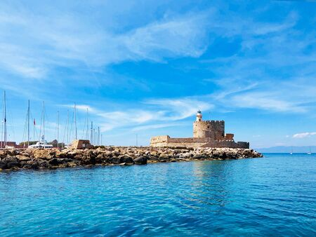 Fort of St. Nicholas in Mandraki Harbor, Rhodes, Greece