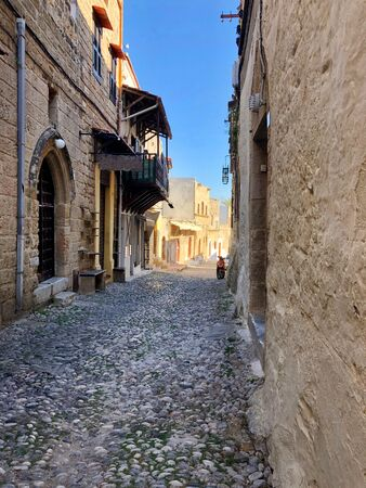 Historical street of old town Rhodes, Greece Reklamní fotografie