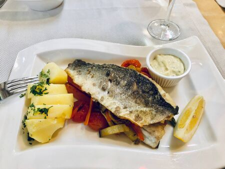 Portion of grilled fish and vegetables on white plate Reklamní fotografie