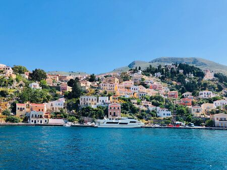Beautiful view of Symi island colorful houses, Greece Reklamní fotografie