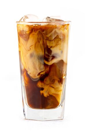 Glass of iced coffee with milk isolated on white background Stok Fotoğraf