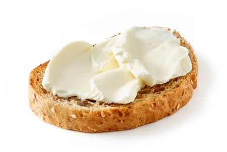 toasted bread with cream cheese isolated on white background 免版税图像