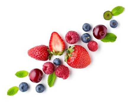 Fresh berries isolated on white background, top view