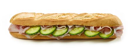 Baguette sandwich with ham and cucumber isolated on white background