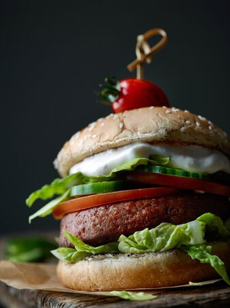 fresh tasty vegan meat less burger closeup