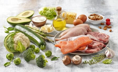 various fresh products, food ingredients for Keto diet