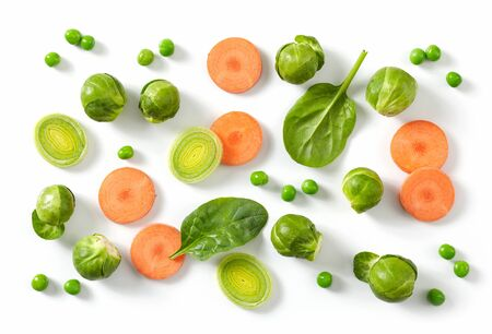 composition of fresh raw vegetables isolated on white background, top view