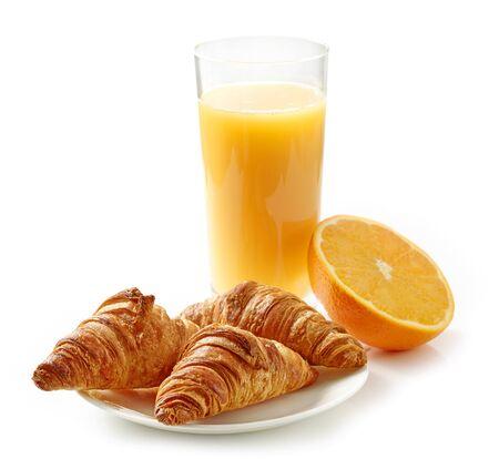 freshly baked croissants and glass of orange juice Zdjęcie Seryjne