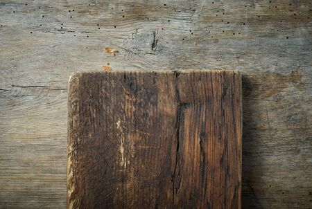old wooden cutting board on kitchen table, top view Stock fotó