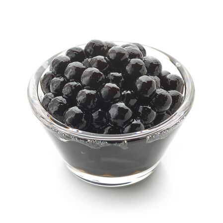 Bowl of black homemade tapioca pearls for bubble tea isolated on white Stock fotó