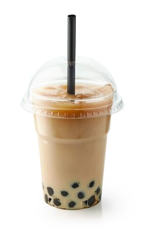 A plastic cup of iced bubble tea isolated on white Archivio Fotografico