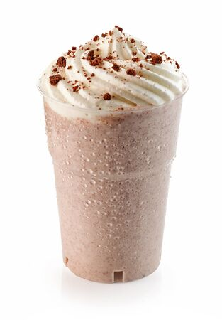 milkshake with blended chocolate cookies and whipped cream isolated on white background Reklamní fotografie