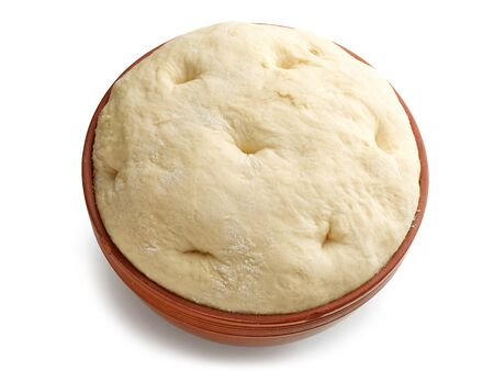 bowl of dough isolated on white background
