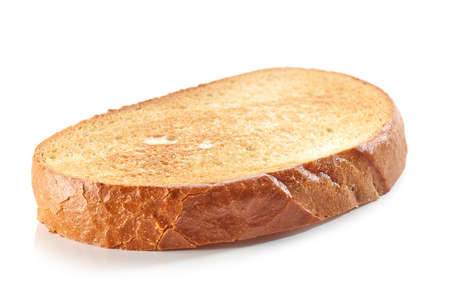 slice of toasted bread isolated on white background Imagens