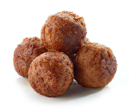 fried meatless plant based balls isolated on white background