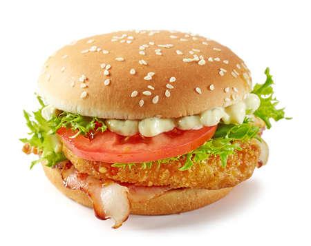 fresh tasty chicken burger isolated on white background Banco de Imagens