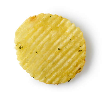 potato chip isolated on white background, top view