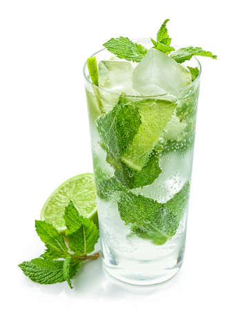 glass of Mojito cocktail isolated on white background Stock Photo