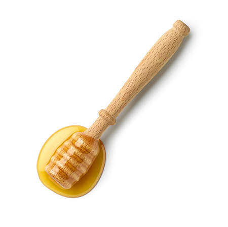 wooden honey spoon isolated on white background, top view 版權商用圖片