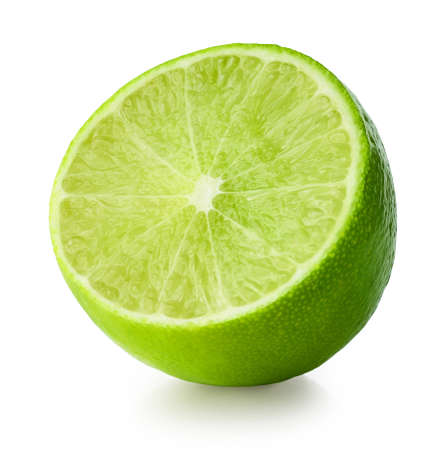 half of lime isolated on white background Banque d'images